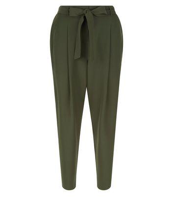 Dark Green Tie Wiast Trousers New Look