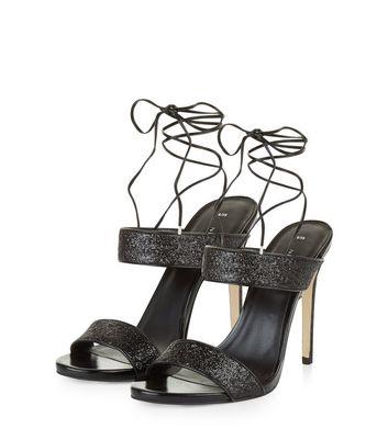 Black Glitter Strap Ankle Tie Heels New Look