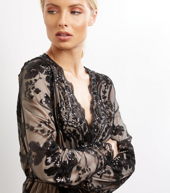 5a7c3d6ed9 ... Parisian Black Sequin Wrap Front Playsuit. ×. ×. ×. Shop the look