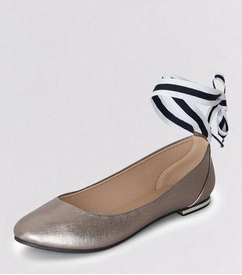 Pewter Metallic Ankle Tie Ballet Pumps New Look