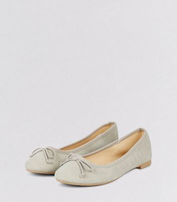 Grey Suedette Perforated Ballet Pumps New Look