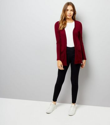 Burgundy Double Pocket Cardigan New Look