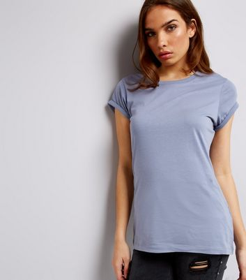 Tall Blue Rolled Sleeve T-Shirt New Look