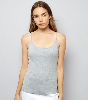 Grey Shoestring Strap Cami Top New Look