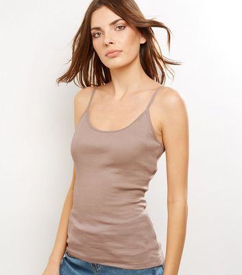 Light Brown Shoestring Strap Cami Top New Look