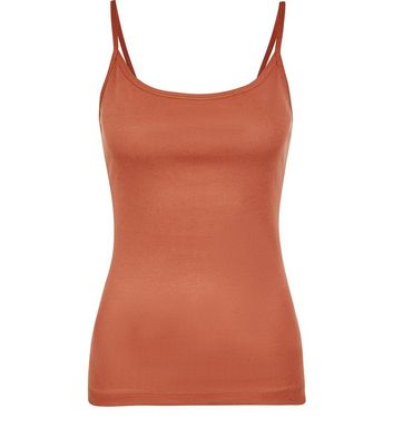 Light Brown Shoestring Strap Cami New Look