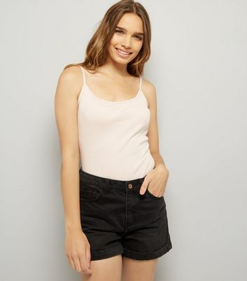 Mid Pink Shoestring Strap Cami Top New Look