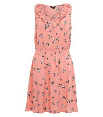 Pink Bird Print Frill Trim Tea Dress New Look