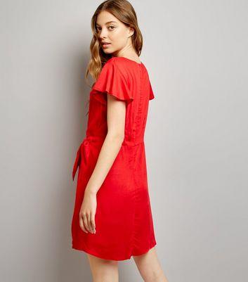 Red Frill Trim Tie Waist Wrap Front Skort Dress New Look