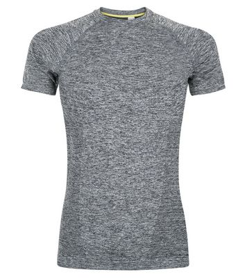 Grey Seamless Short Sleeve Sports T-Shirt New Look