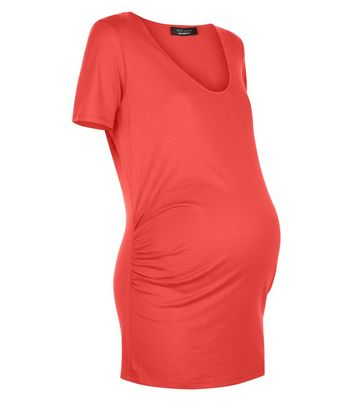 Maternity Red Scoop Neck T-Shirt New Look