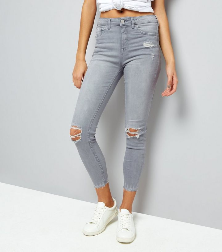 hot-selling authentic 2019 hot sale best selling Grey Ripped Fray Hem Skinny Jenna Jeans Add to Saved Items Remove from  Saved Items