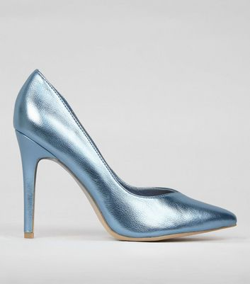 Blue Metallic Pointed Court Shoes