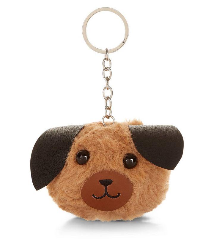 Brown Pug Pom Pom Keyring  f8f92e4c5