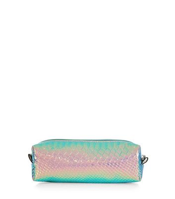Pink Holographic Snakeskin Texture Pencil Case New Look