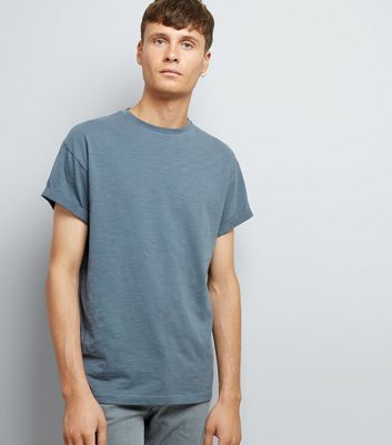 Grey Cotton Rolled Sleeve T-Shirt New Look
