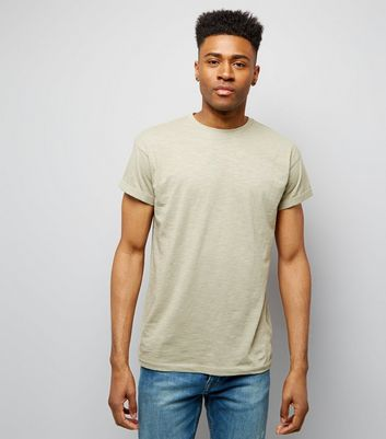 Olive Green Cotton Rolled Sleeve T-Shirt