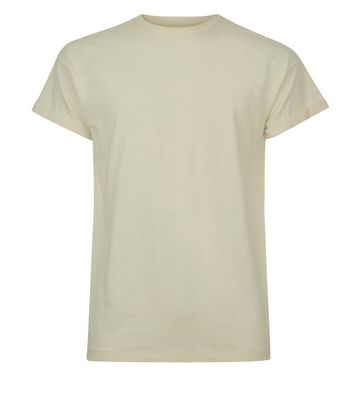 Olive Green Cotton Rolled Sleeve T-Shirt New Look