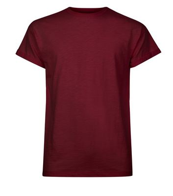 Burgundy Cotton Rolled Sleeve T-Shirt New Look