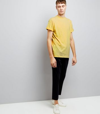 Yellow Roll Sleeve T-Shirt New Look