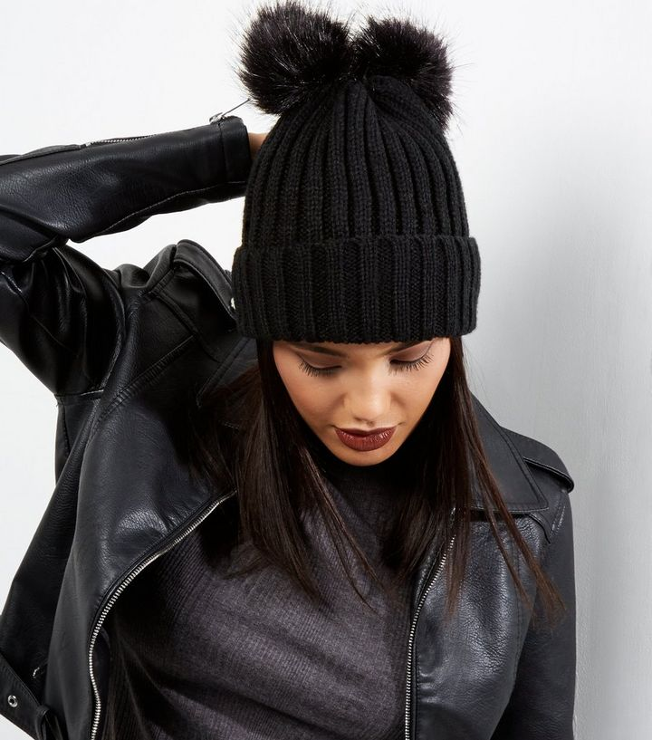 e0953306a4c Black Ribbed Faux Fur Pom Pom Beanie