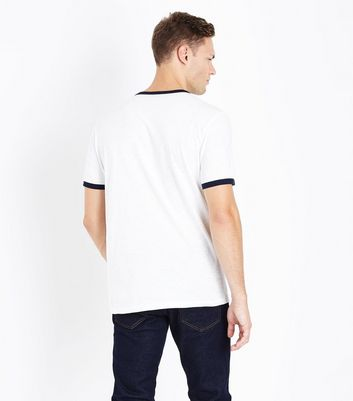 Cream Contrast Trim T-Shirt New Look