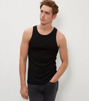 Black Muscle Fit Ribbed Vest New Look