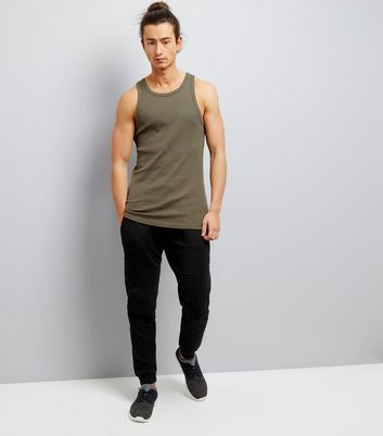 Khaki Muscle Fit Ribbed Vest New Look