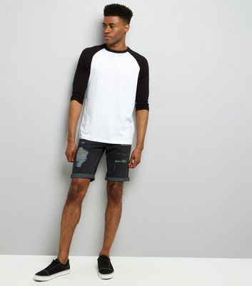 Black 3/4 Raglan Sleeve T-Shirt New Look