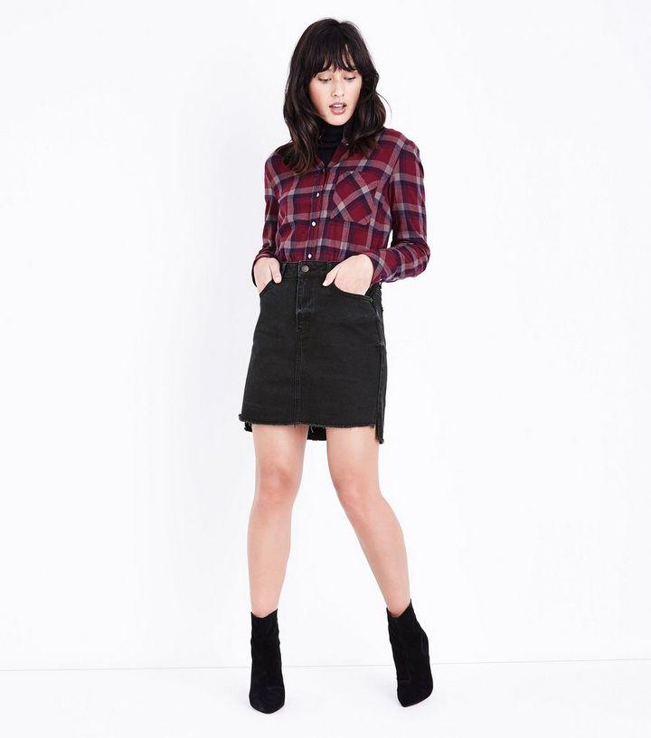 830ea5c542e8a8 Black Fringed Hem Denim Skirt | New Look