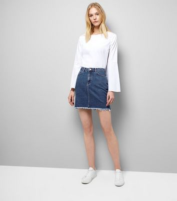 Blue Fringed Hem Denim Skirt New Look