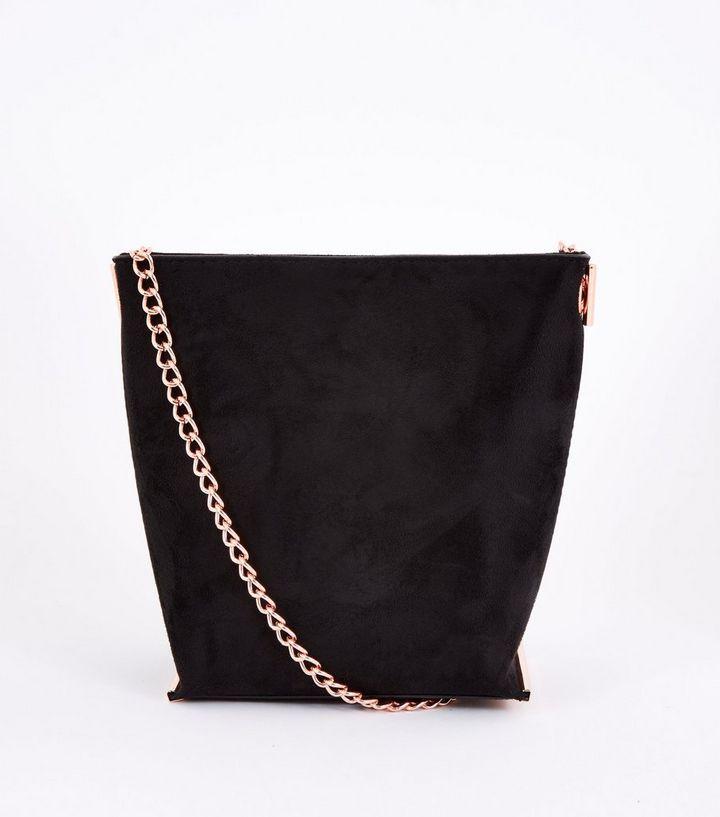 40820658d0e Black Suedette Mini Bucket Chain Shoulder Bag | New Look