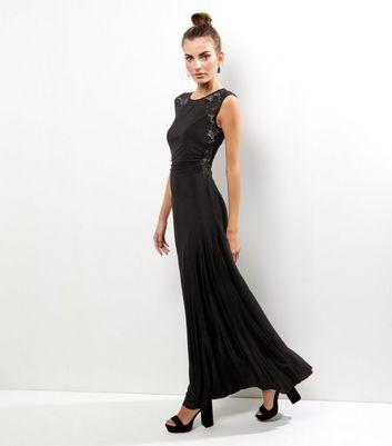 AX Paris Black Lace Panel Sleeveless Maxi Dress New Look