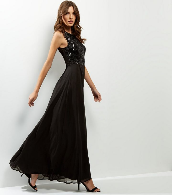 9f2c0907d7f AX Paris Black Lace Sequin Panel Sleeveless Maxi Dress
