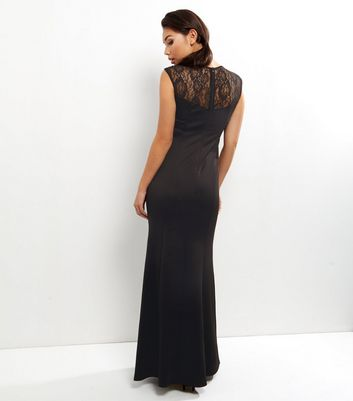 AX Paris Black Crochet Lace Panel V Neck Maxi Dress New Look