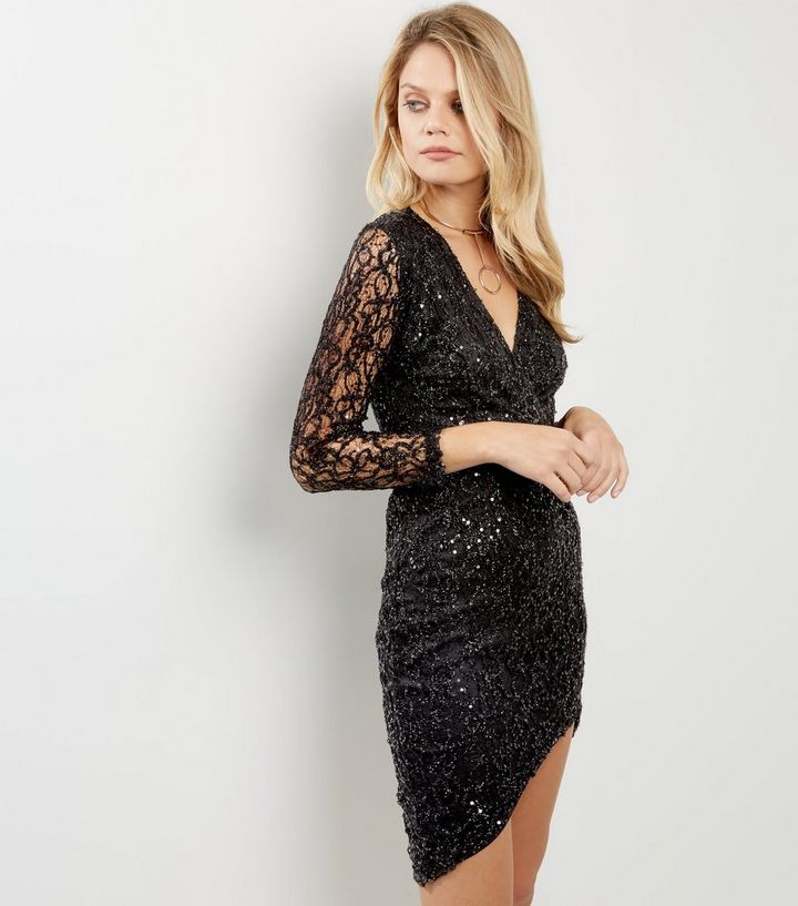e35d0c26b49 AX Paris Black Plunge V Neck Sequin Dress | New Look