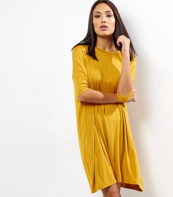 Yellow Oversized T-Shirt Dress New Look