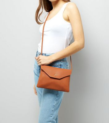 Tan Foldover Cross Body Bag New Look
