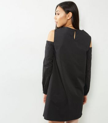 Black Cold Shoulder Tunic Dress New Look