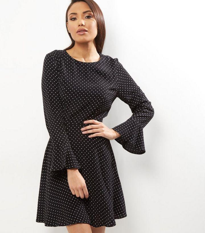 cb3db21cde6 Black Polka Dot Print Bell Sleeve Sweater Dress