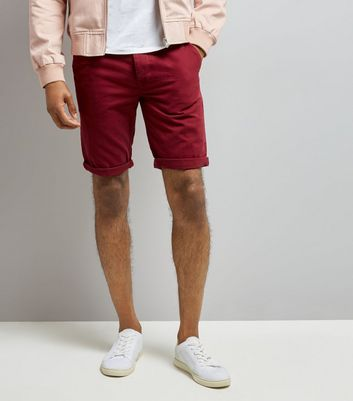Burgundy Slim Leg Chino Shorts New Look