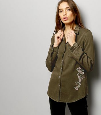 Khaki Floral Embroidered Long Sleeve Shirt New Look