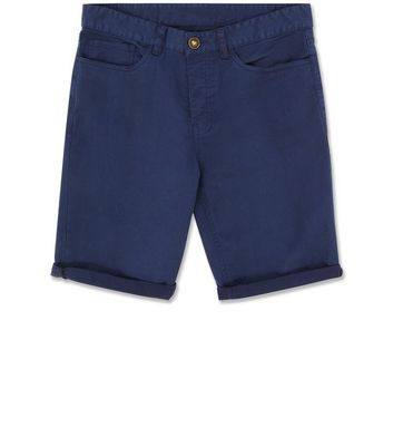 Navy 5 Pocket Slim Leg Shorts New Look
