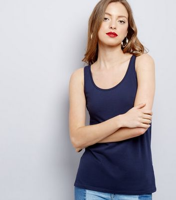 Navy Scoop Neck Vest New Look