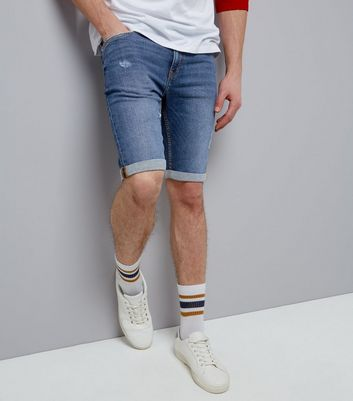 Blue Skinny Denim Shorts New Look