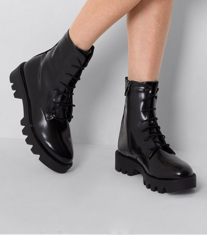 23b53b65257 Black Patent Lace Up Chunky High Ankle Boots
