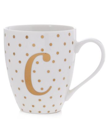 White C Initial Mug New Look