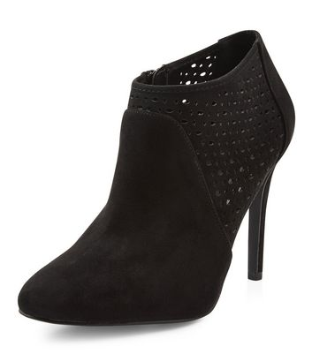 Black Suedette Laser Cut Out Shoe Boots New Look