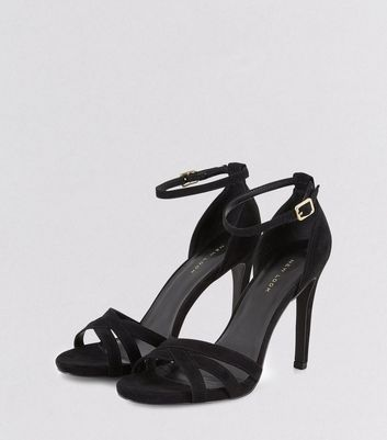 Black Suedette Cross Front Ankle Strap Heels New Look
