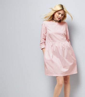 Mid Pink Cotton Smock Dress New Look